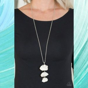On the Roam Again White Stone Trio Necklace Set